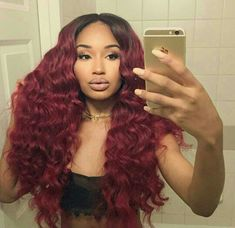 GREEMEO Wavy Brazilian Hair Bundles Human Hair Grade Unprocessed Virgin Hair Loose Wave Remy Hair Extension Ombre for Women 1 Piece Inches, Black to burgundy) Pretty Hairstyles, Wig Hairstyles, Hairstyle Ideas, Curly Hair Styles, Natural Hair Styles, Burgundy Hair, Burgundy Weave, Maroon Hair, Ombre Burgundy