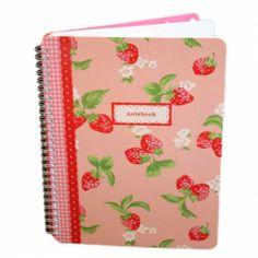 strawberry print notebook