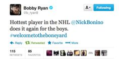Bobby is pumped about Bones after the shootout win in St. Louis. Great tweet!