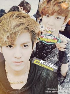 Kris & Chanyeol.. Cute lil channie on the background while Kris is being smolderingly hot
