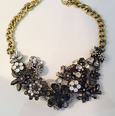 Zara Vintage Gold Silver Flower Statement Necklace Chunky Chain Shourouk Style