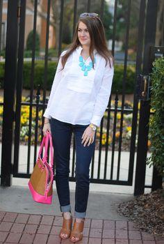 Jeweler's Wife Kendra Scott harlow necklace  // J.Crew swiss-dot tuxedo shirt…