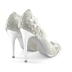 Lace Wedding Heels in White