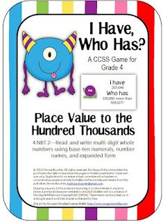 Math Coach's Corner: I Have /Who Has? place value game