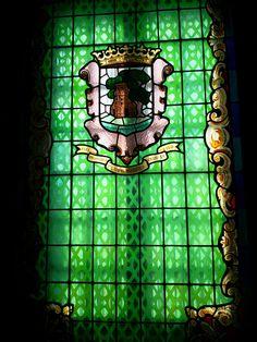 Stained glass window at Museum of the City, Pazo (palace) Quiñones de León, Vigo