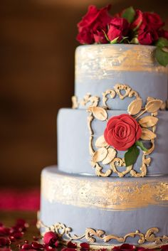 Disney's Beauty and the Beast inspired wedding cake