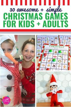 If you're looking for great kids games or need some winter boredom busters, you and your family will love these 30 awesome Christmas games for kids! Minute To Win It Games Christmas, Christmas Party Games For Groups, Xmas Games, Christmas Bingo, Holiday Games, Christmas Activities, Christmas Time, Christmas Crafts, Christmas Parties