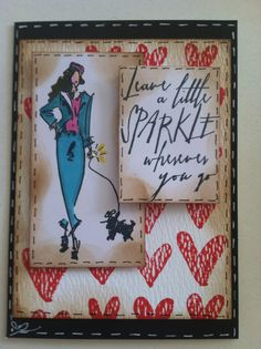 Tim Holtz Runway, handwritten thoughts and Watercolor stamp sets. Inspiration from Brett Weldele. Engagement card
