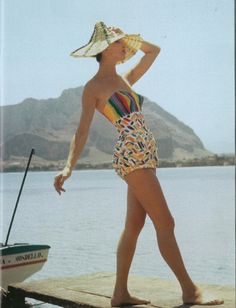 Emilio Pucci swimsuit design (what about that hat?!!) circa 1950s