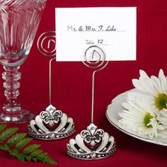 Crown Design Place card/Photo holders with Fleur De Lis Accents Greet your guests in royal fashion with these crown design place card/photo holders from the Royal Wedding Favors Collection .