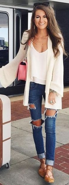 #summer #preppy #outfits    White Cozy Cardi + White Tank + Ripped Jeans