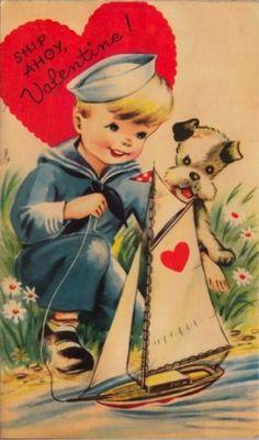 Vintage Greeting Card Valentine Boy Sailor Dog Moveable O922