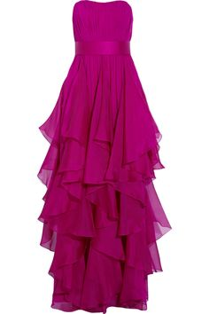 Ruffled silk-chiffon gown by Notte by Marchesa