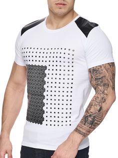 K D Men Faux Leather Studded T-shirt - White 32ab369097933