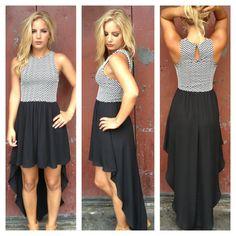 Black Hi Lo Dress with Chevron Bodice