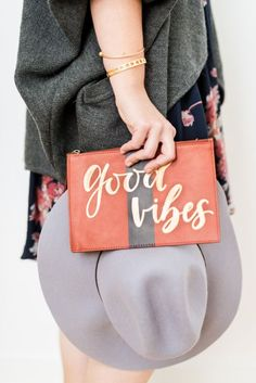 DIY gold calligraphy clutch