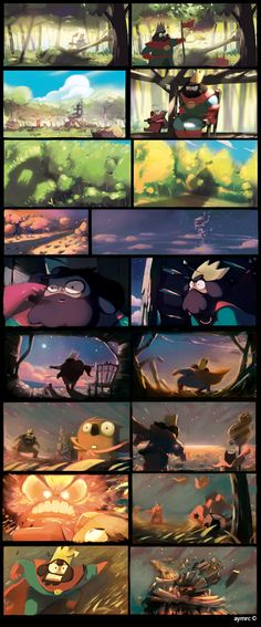 Le Royaume Storyboard by Aymeric Kevin Animation Storyboard, Storyboard Artist, Animation Reference, Pose Reference, Disney Character Drawings, Disney Drawings, Color Script, Disney Concept Art, Digital Painting Tutorials