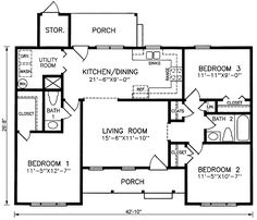 First Floor Plan of Ranch   House Plan 45316