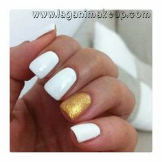 White and gold nails - unghie bianche e oro