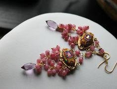 Vintage Brass Setting and swarowski Mauve Pink by Peelirohini