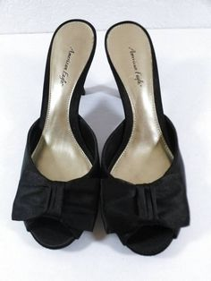 American Eagle Black Bow Satin Fabric Heels Ladies Pumps Slides Size 6 1/2 #AmericanEagleOutfitters #OpenToe #dressy