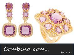 """""""COMBINA COM..."""" Brincos e anel folheados a ouro 18k cravejados com zircônias e cristais ametista."""