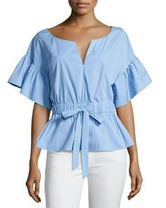 Vivian + Drawstring Waist + Stretch Poplin + Top + by + Milly + at + Neiman + Marcus.another great look for the rectangle body. This top has many things going for it. The small v the sleeves and the ruffle at the waist all this creates a curve for ty Red Blouses, Shirt Blouses, Blouses For Women, Chiffon Blouses, Beautiful Blouses, Mode Style, Sewing Clothes, Black Blouse, Nice Tops