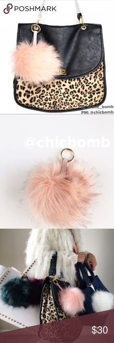 """Lux Pom Pom puff ball charm. Super XL Lux dreamy pink faux fur Pom Pom letting charm for your bags n keys. Super size XL. Length 7.5@/5""""fur ball . Gold metal clasp hardware with vegan leather                           Follow me on  INSTAGRAM: @chic_bomb  and FACEBOOK: @thechicbomb CHICBOMB Accessories"""