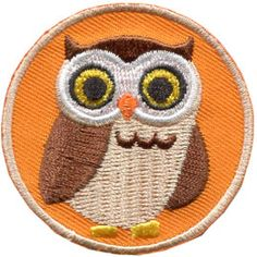 Owl, Bird, Animal, Patch, Embroidered Patch, Merit Badge, Badge, Emblem, Iron On, Iron-On, Crest, Lapel Pin, Insignia, Girl Scouts, Boy Scouts, Girl Guides