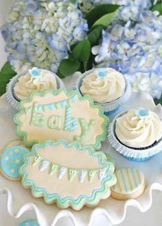 elegant glory blue green boy baby shower desserts