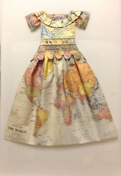 """Marquise Aquatique Aquamarine Reine des Bigorneaux, 2014"" by Elisabeth Lecourt -  Folding made from map 92 x 60 x 3"
