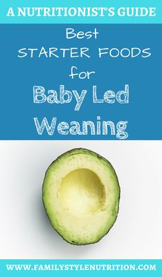 Looking for some starter food ideas for your baby starting at 6 months? Look no further! Family Style Nutrition's guide to starting solids with the baby led weaning approach has lots of great ideas and the info on how to prep them.