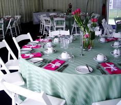 Spring Cup Carnival #event #decoration using our sage stripe cloths and raspberry pink napkins  #eventthemeing #melbourne #melbourneevents #eventthemeingmelbourne #eventhemeingcompanies #decoritevents www.decorit.com.au (25)