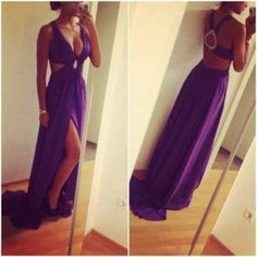Backless Prom Dresses,Grape Prom Dress,Chiffon Prom Dresses,MB 233