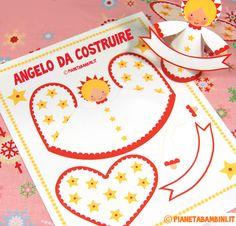 Sagoma dall'angelo natalizio da stampare, ritagliare e costruire con i bambini