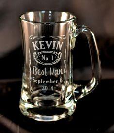 Custom Etched Jack Daniels Best Man Groomsmen beer mugs.