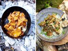 Creamy mushrooms by Jamie Oliver. Love the pic on the left on top of the coals!