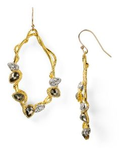 #AquaRocks Alexis Bittar Crystal Gold Pyrite Small Vine Teardrop Earrings - All Jewelry - Jewelry - Jewelry