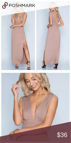 Mocha Maxi With Slit And Deep V Front Mocha maxi has a high side slit, triple elastic detail band at waist, and a deep v in front. Fabric is soft and stretchy, dress slips overhead and ties at back neck. EVIEcarche Dresses