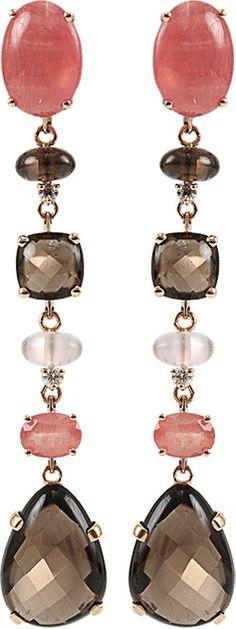 ANTONINI Quartz, Rhodochrosite, and Diamond Earrings $7,200.00 thestylecure.com