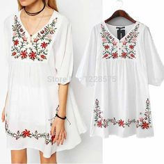 Vintage National Ethnic Floral Embroidery swing Dress Deep V Cocktail mini Cotton Loose Top Hippie Blouse Solid 10 Colors(China (Mainland)) Plus Size Formal Dresses, Dresses For Less, Cheap Blouses, Blouses For Women, Vestidos Vintage, Vintage Dresses, Cute Cocktail Dresses, Designer Party Dresses, Half Sleeve Dresses