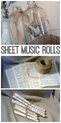 These simple sheet music rolls will look great in your home decor. These simple sheet music rolls will look great in your home decor. Diy Home Decor Easy, Unique Home Decor, Cheap Home Decor, Diy Room Decor, Room Decorations, Shabby Chic Vintage, Diy Vintage, Vintage Home Decor, Vintage Sheet Music