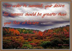 """""""In order to succeed your desire for success should be greater than your fear of failure."""""""