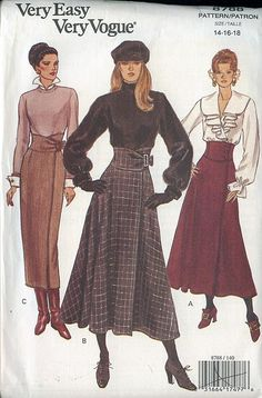Very Easy Vogue Pattern 8788 Long Maxi Skirt 3 Variations Sizes 80s Fashion, Fashion History, Fashion Art, Vintage Fashion, Vintage Dress Patterns, Vintage Dresses, Vintage Outfits, Vogue Dress Patterns, Vogue Sewing Patterns