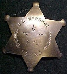 Old west Texas Marshal solid brass lawman badge