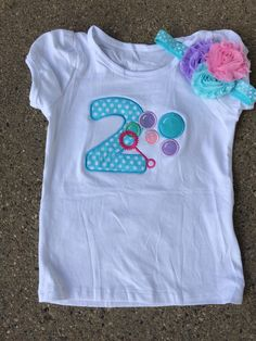 Aqua and pink polka dot bubble birthday outfit 2nd by CEBowtique