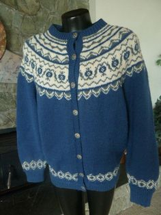 Handknitted Norwegian Sweater O. Allers AB Bergen Norway L Love Blue, Blue And White, Norwegian Knitting, Fair Isles, Fair Isle Knitting, North Sea, Wool Sweaters, Knit Patterns, Norway