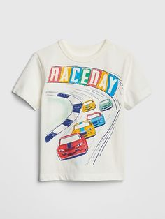 c4b935a6f Gap Babies  Graphic Short Sleeve T-Shirt Cars White Ropa De Niño Bebé