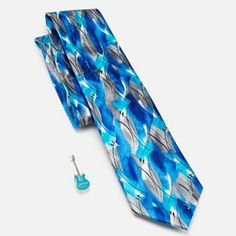 Jerry Garcia Mens Designer Pure Silk Tie Geometric Watercolor Turquoise Blue Black