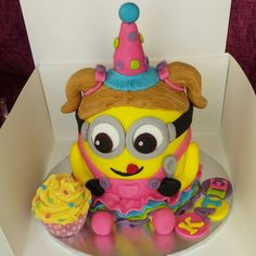 Girl Minion Birthday Cake